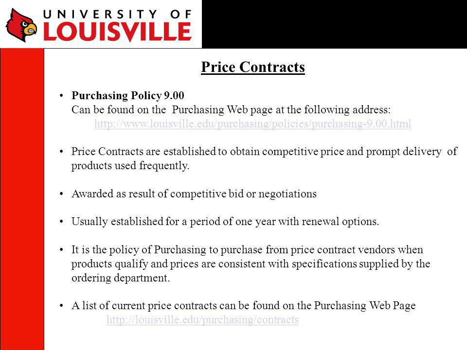 Price Contracts Purchasing Policy 9.00