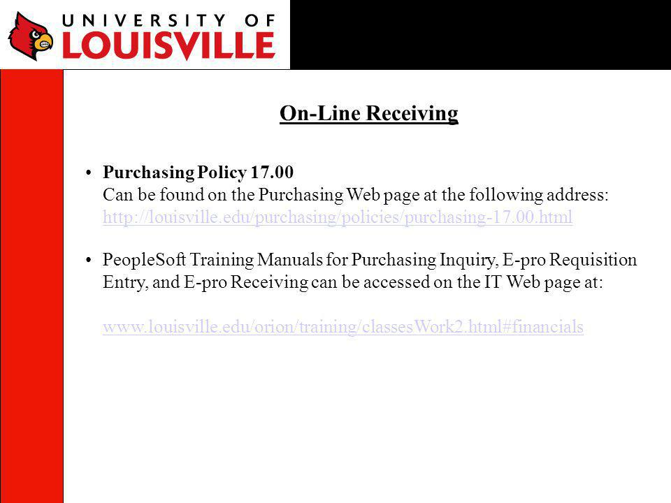 On-Line Receiving Purchasing Policy 17.00