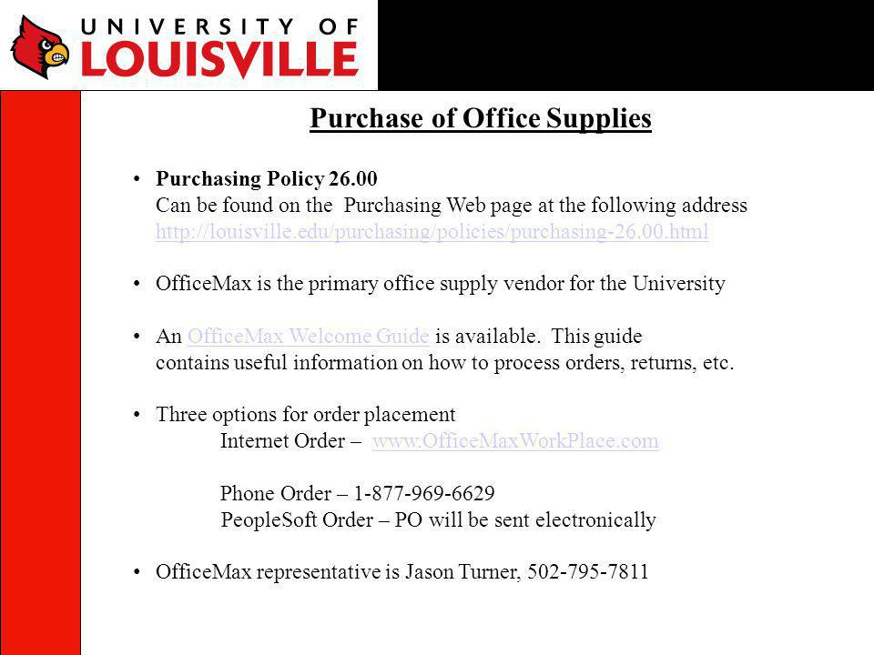 Purchase of Office Supplies