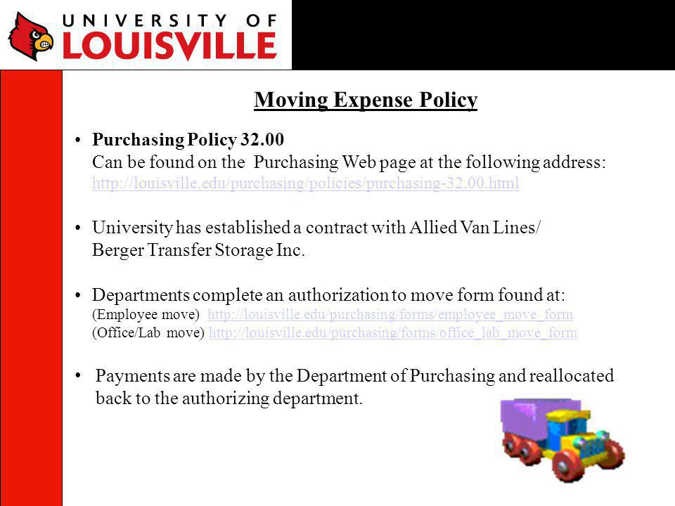 Moving Expense Policy Purchasing Policy 32.00