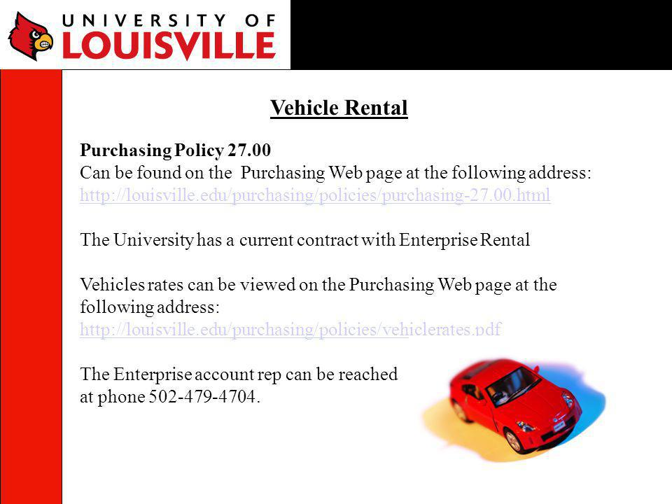 Vehicle Rental Purchasing Policy 27.00