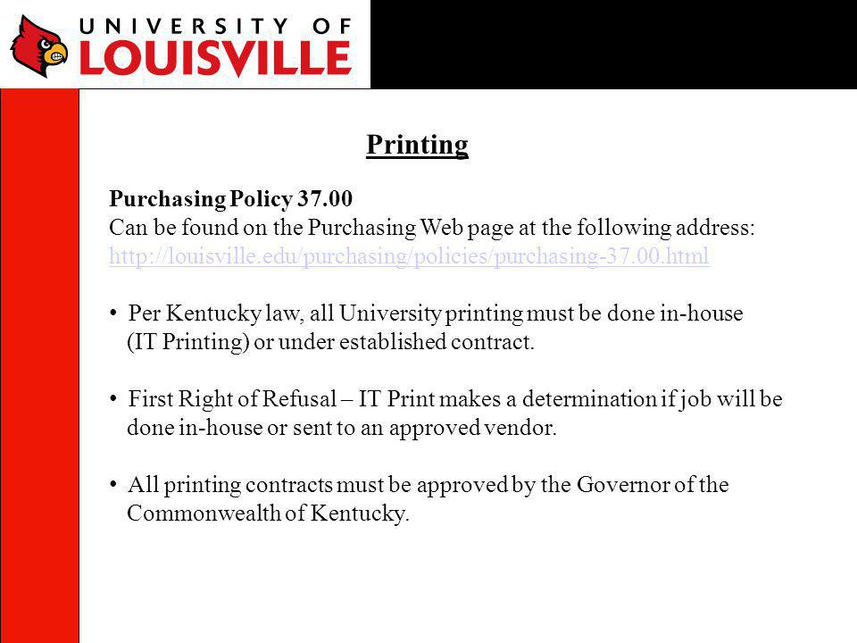 Printing Purchasing Policy 37.00