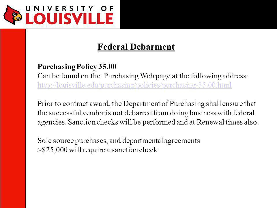 Federal Debarment Purchasing Policy 35.00