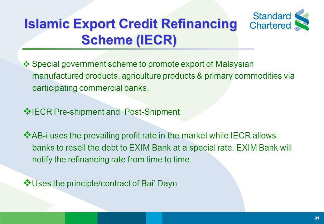 Islamic Export Credit Refinancing Scheme (IECR)