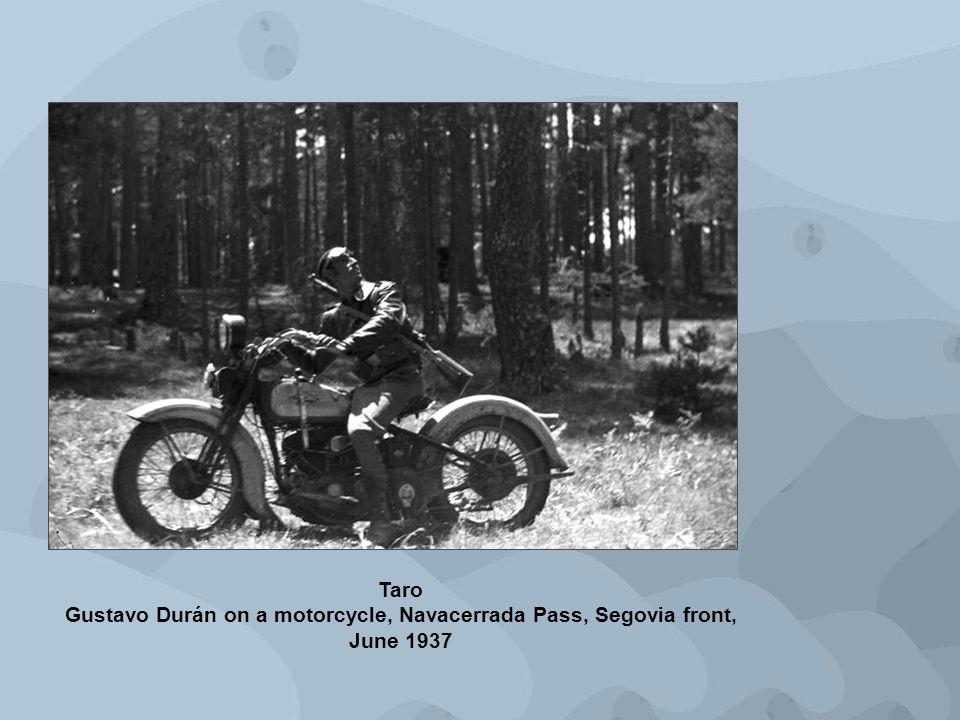 Taro Gustavo Durán on a motorcycle, Navacerrada Pass, Segovia front, June 1937