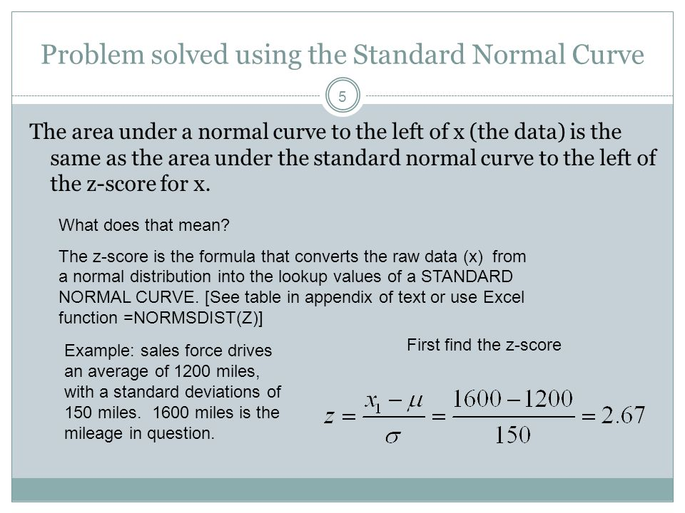 Problem solved using the Standard Normal Curve