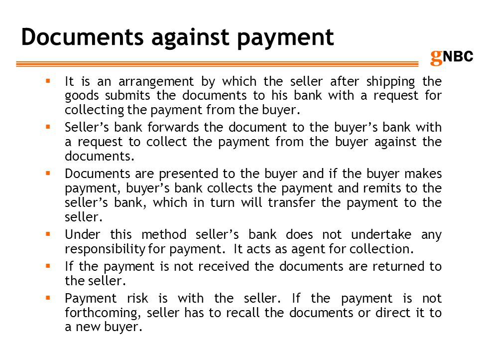Documents against payment