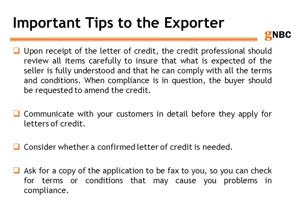 Important Tips to the Exporter