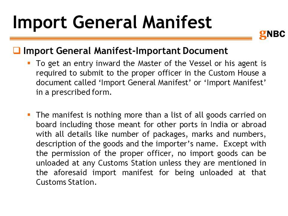 Import General Manifest