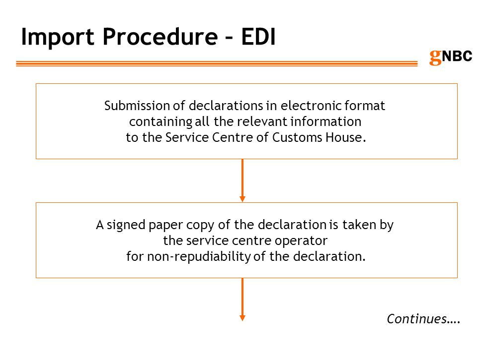 Import Procedure – EDI Submission of declarations in electronic format