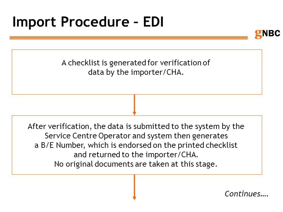 Import Procedure – EDI A checklist is generated for verification of