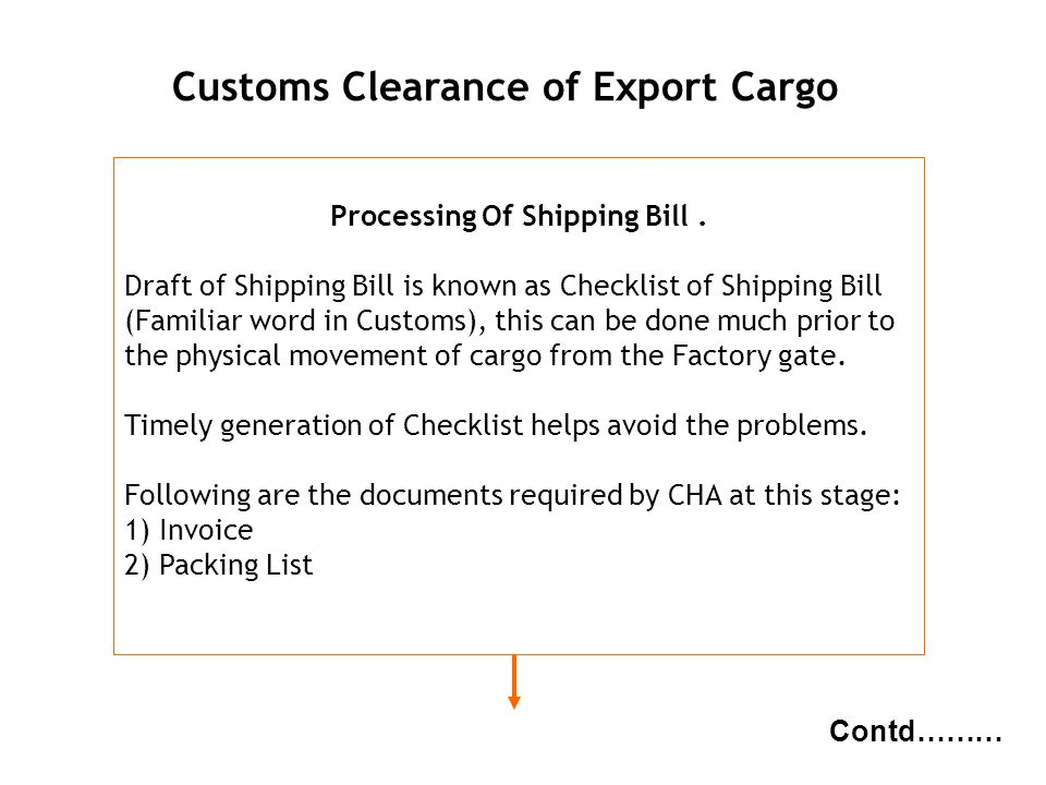 Customs Clearance of Export Cargo Processing Of Shipping Bill .