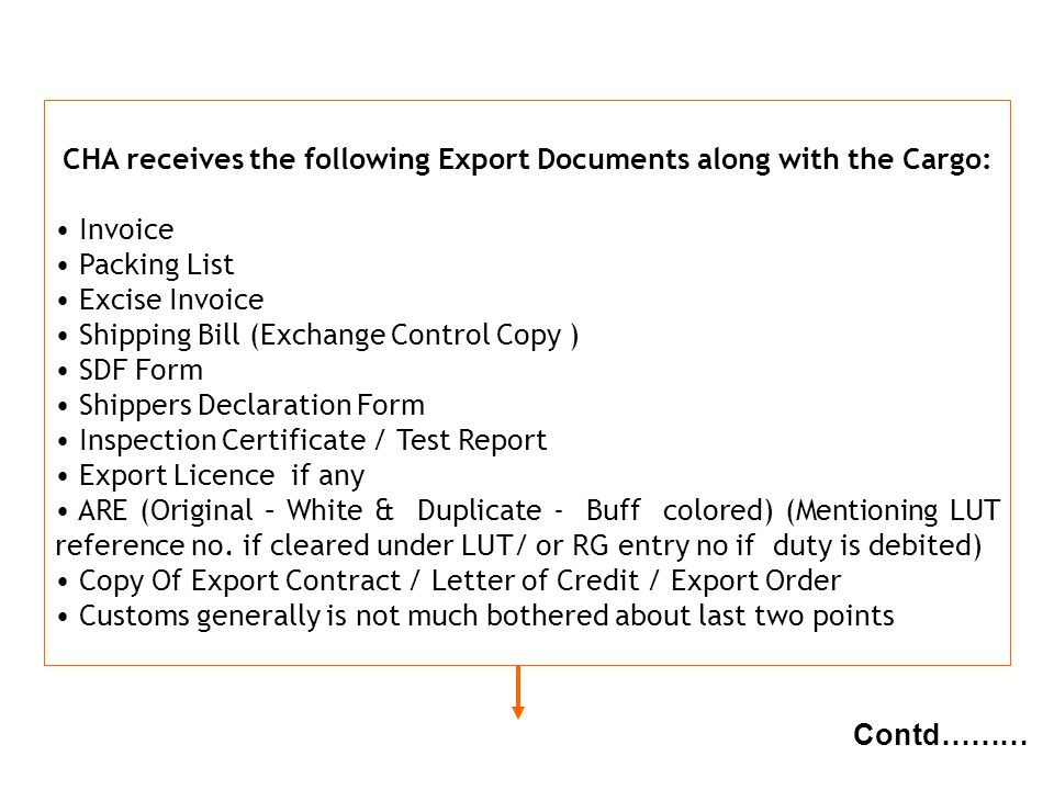 CHA receives the following Export Documents along with the Cargo: