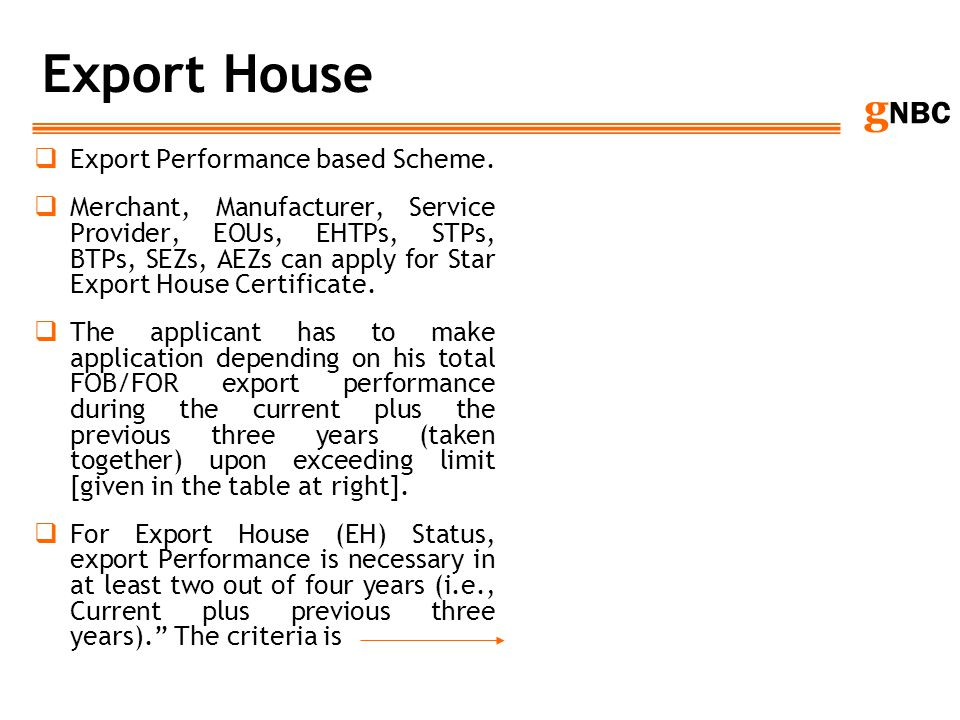 Export House Export Performance based Scheme.
