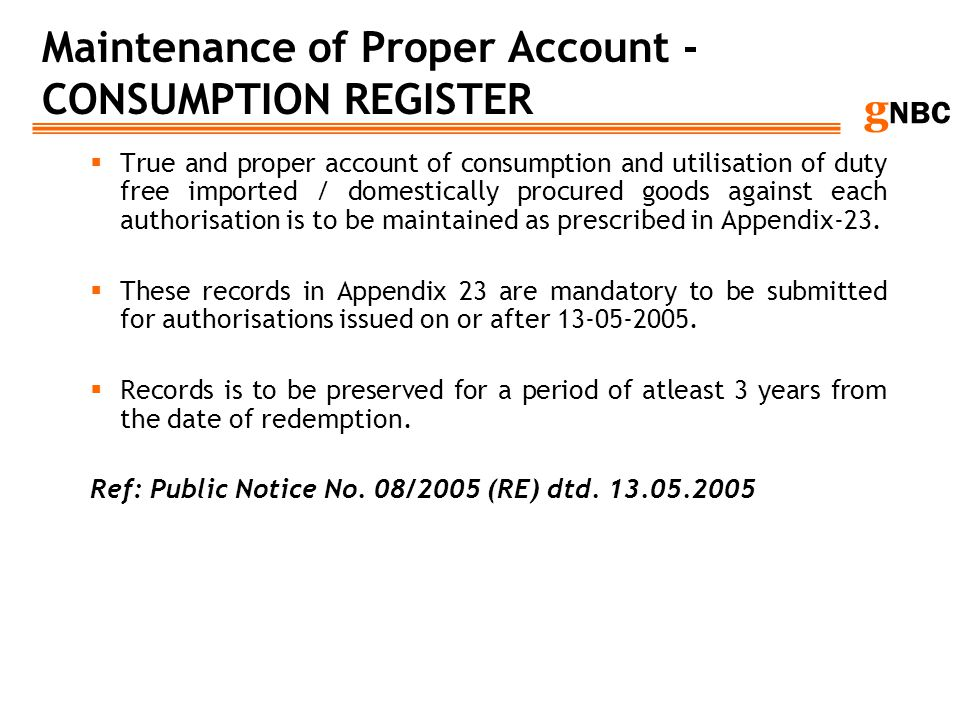 Maintenance of Proper Account - CONSUMPTION REGISTER