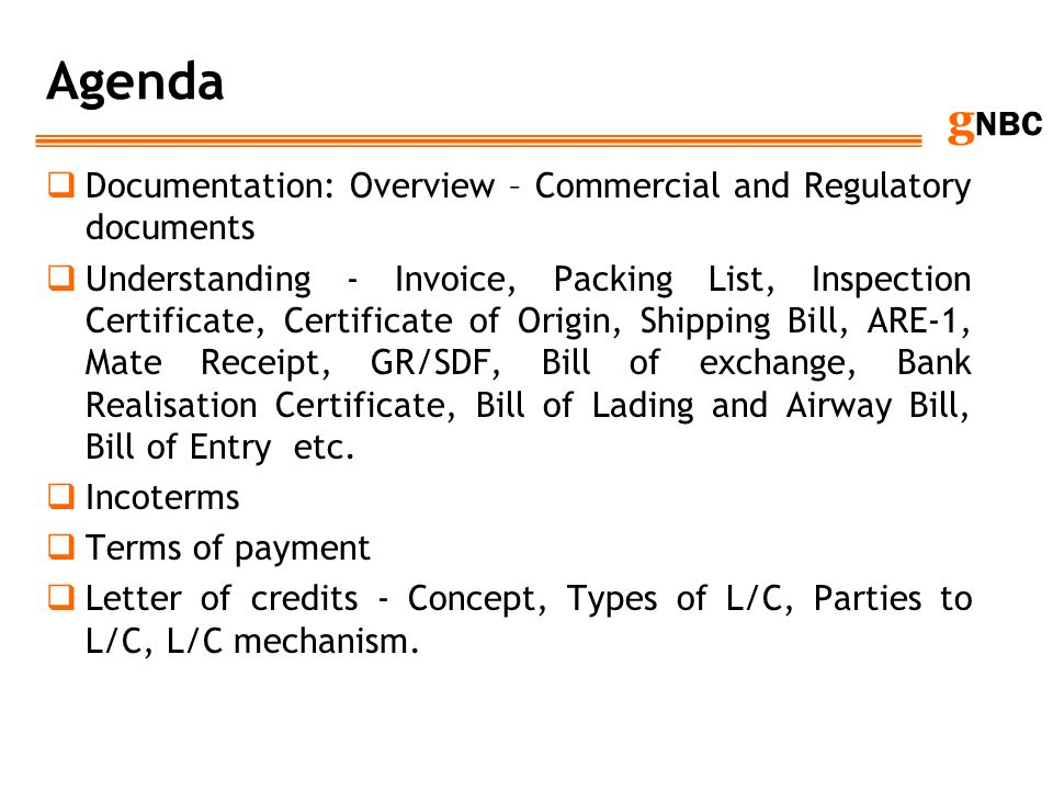 Agenda Documentation: Overview – Commercial and Regulatory documents