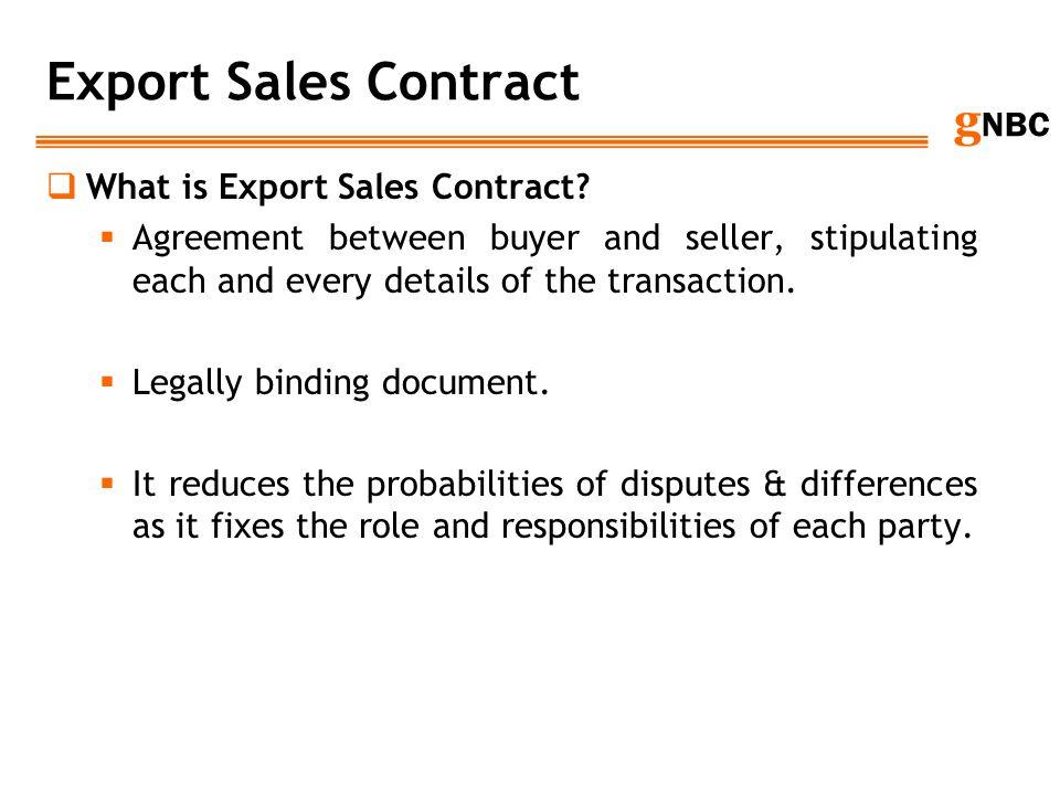 Export Sales Contract What is Export Sales Contract