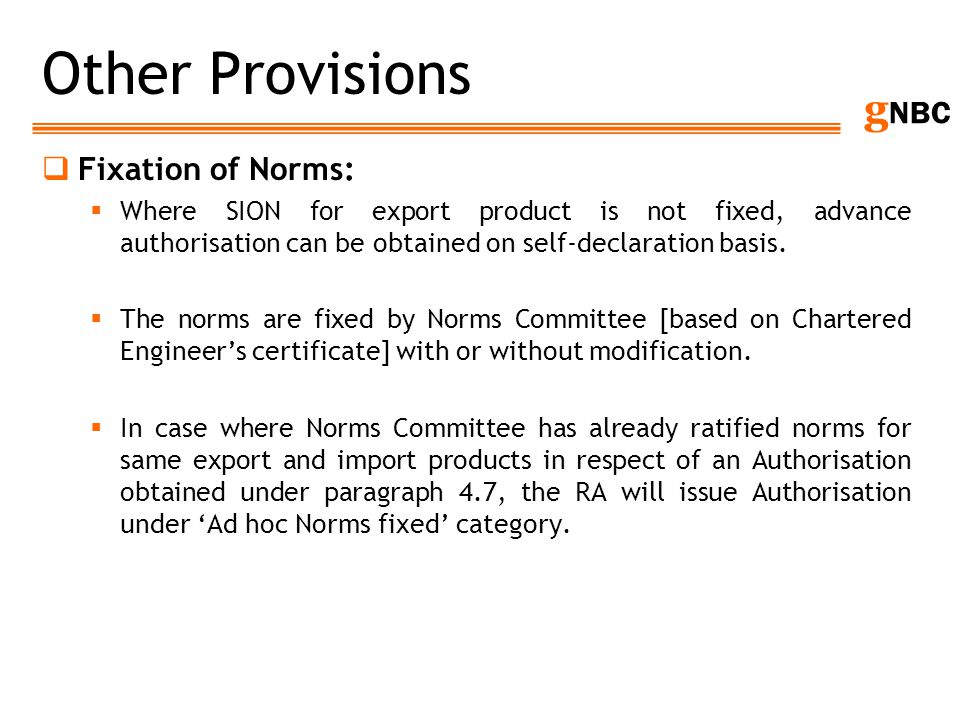 Other Provisions Fixation of Norms: