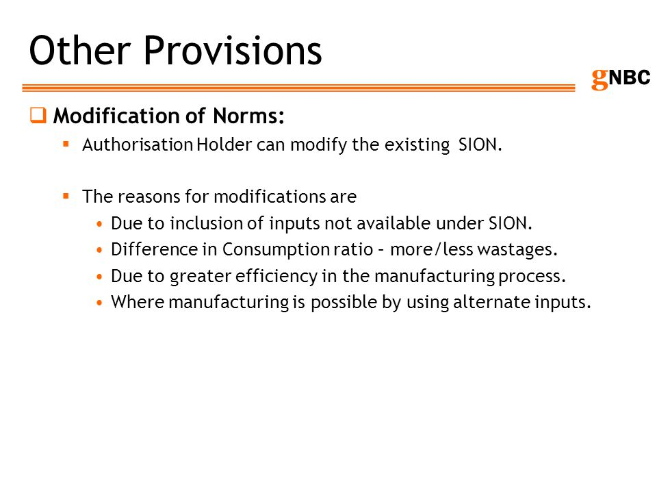 Other Provisions Modification of Norms: