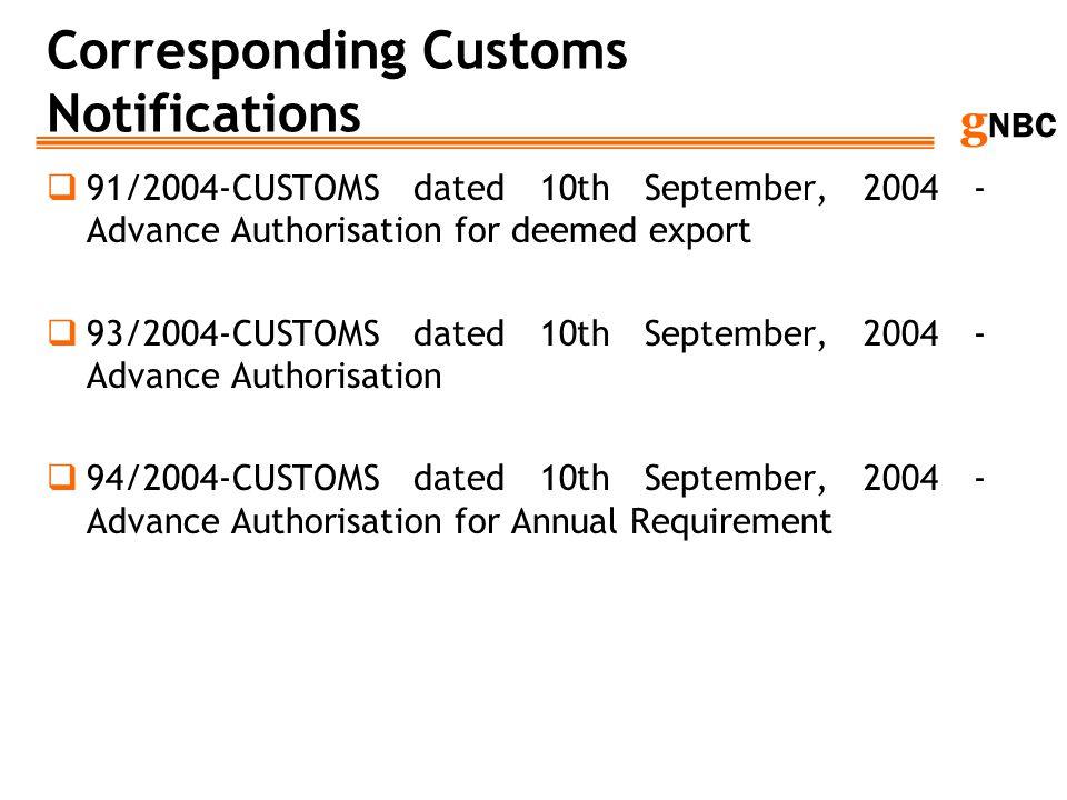 Corresponding Customs Notifications