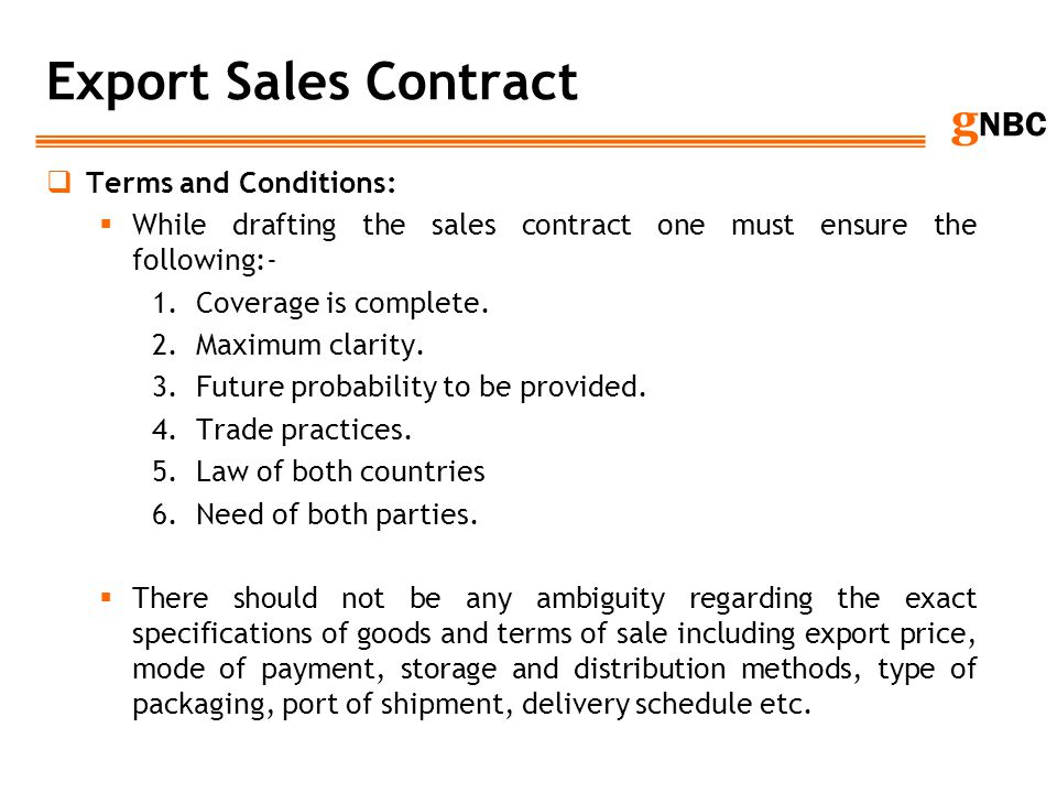 Export Sales Contract Terms and Conditions: