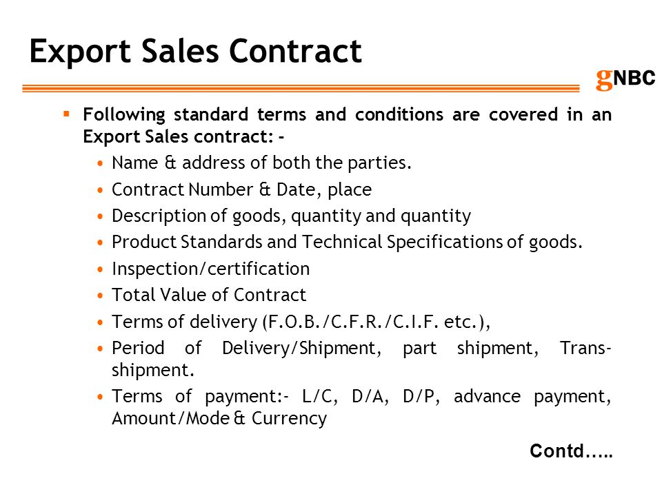 IMPORTEXPORT DOCUMENTATION FOREIGN TRADE POLICY ppt download – Export Contract