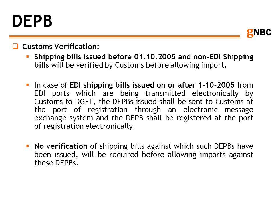 DEPB Customs Verification: