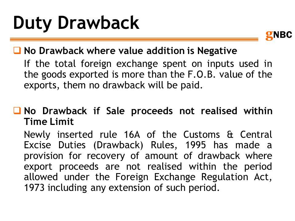 Duty Drawback No Drawback where value addition is Negative