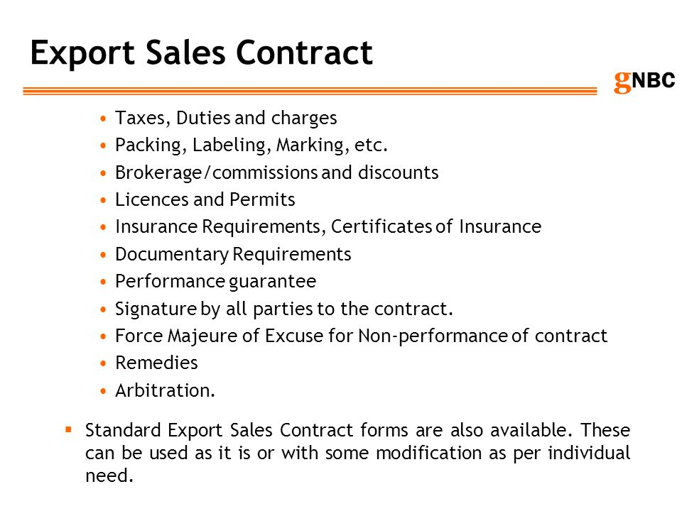 Export Sales Contract Taxes, Duties and charges