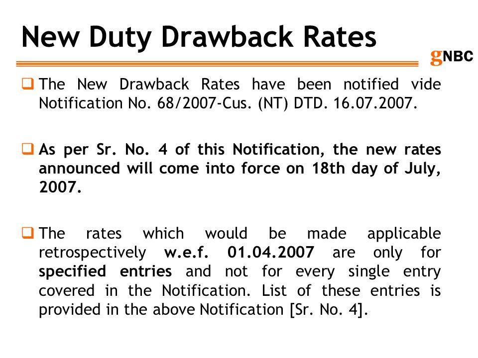 New Duty Drawback Rates