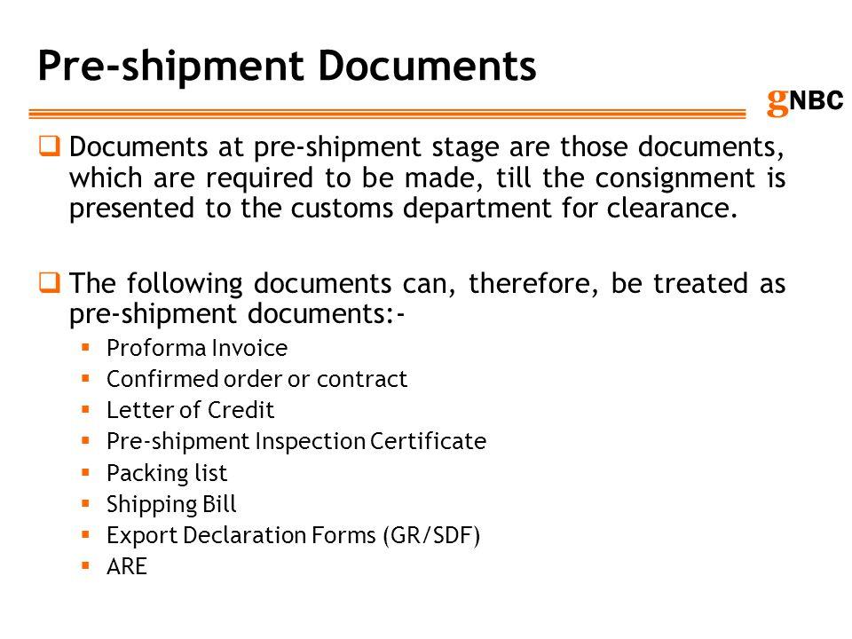 Pre-shipment Documents