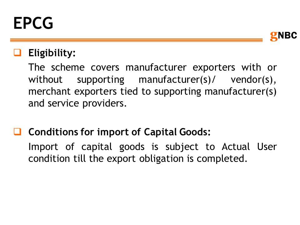 EPCG Eligibility: