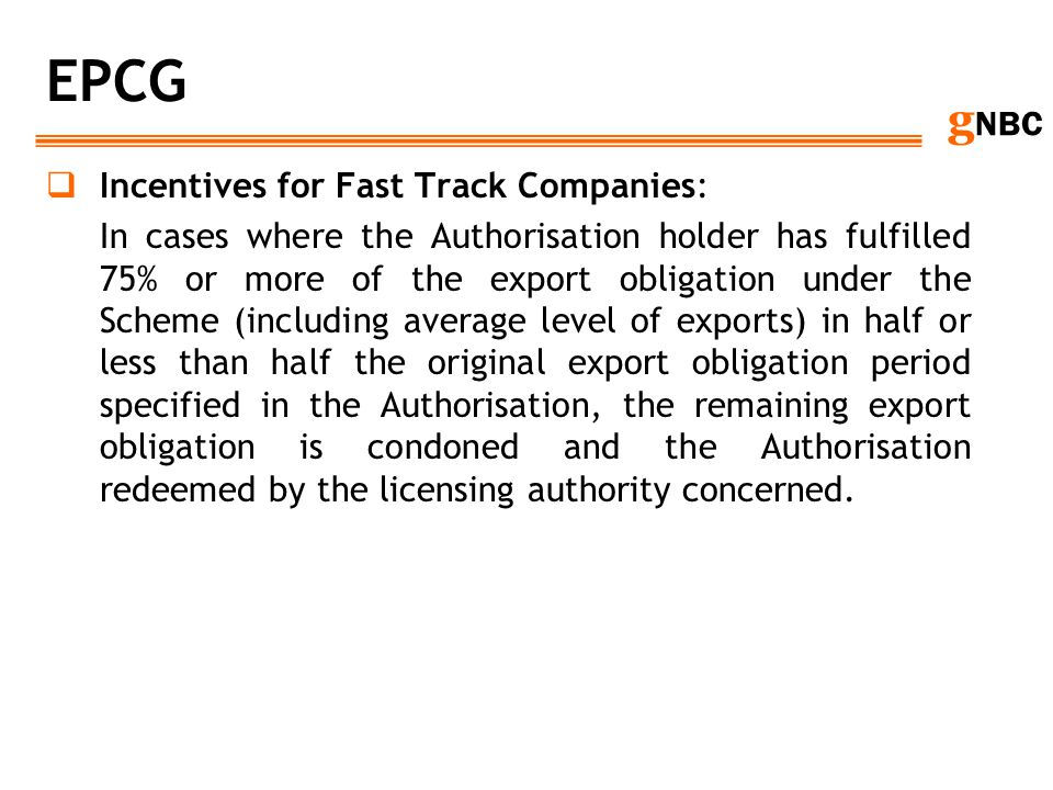 EPCG Incentives for Fast Track Companies: