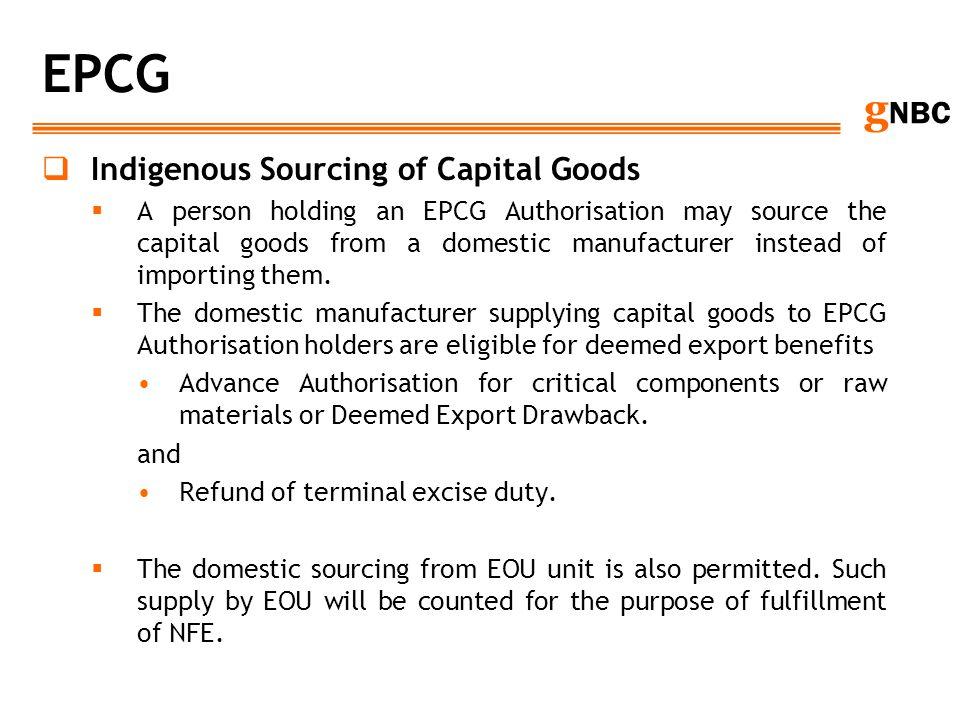 EPCG Indigenous Sourcing of Capital Goods