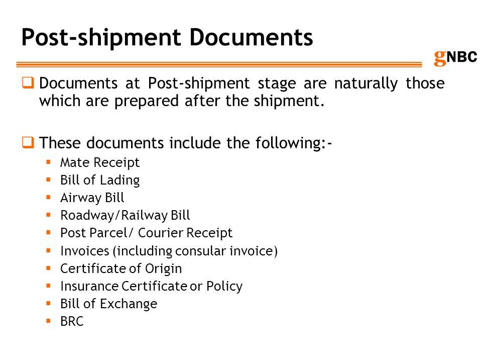 Post-shipment Documents
