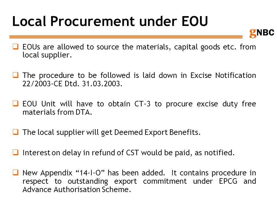 Local Procurement under EOU
