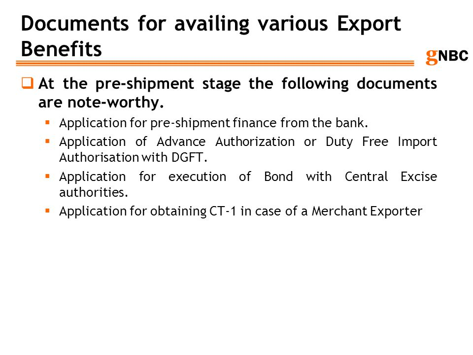 Documents for availing various Export Benefits