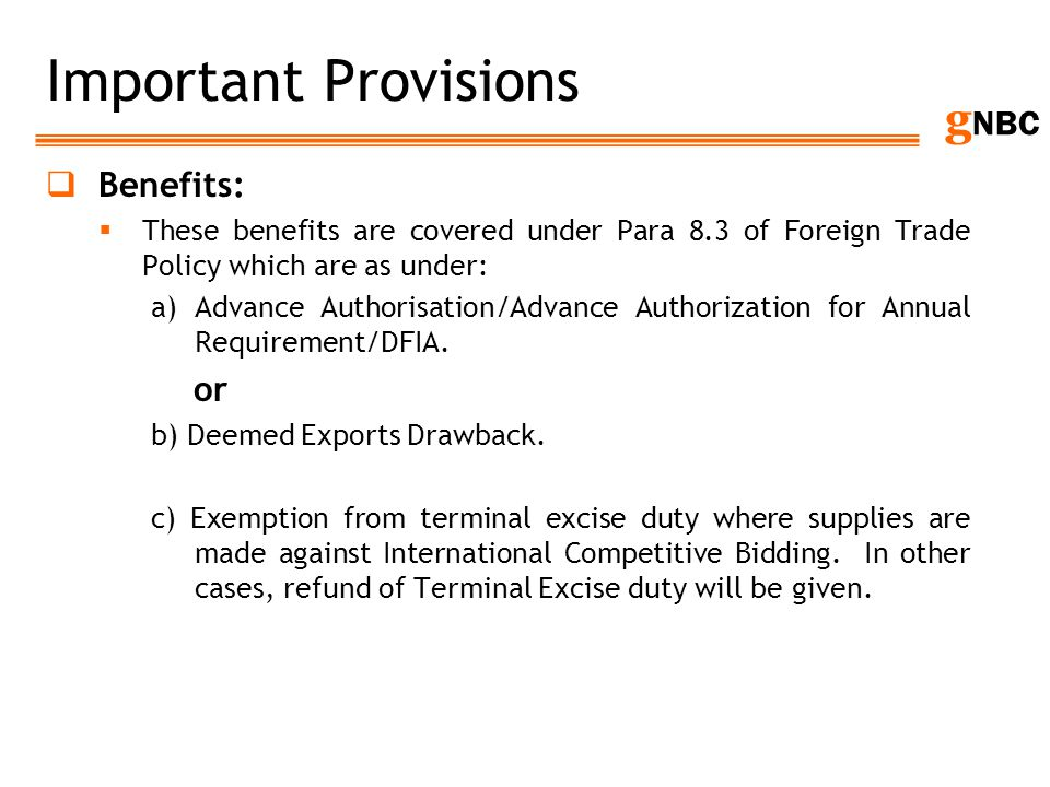 Important Provisions Benefits: or