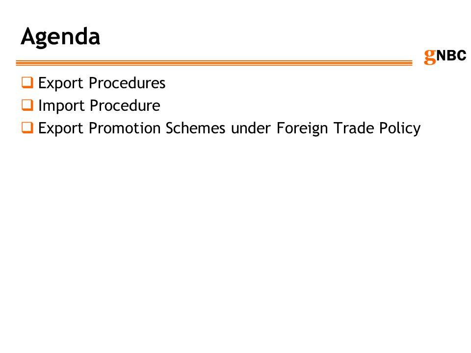 Agenda Export Procedures Import Procedure