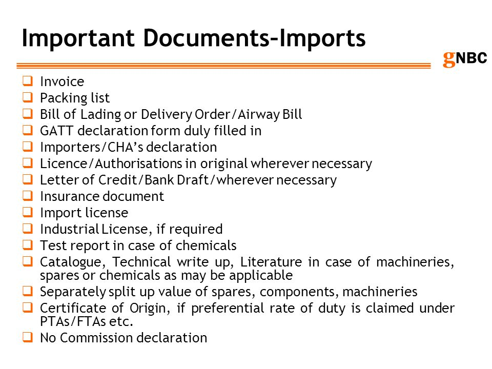 Important Documents–Imports