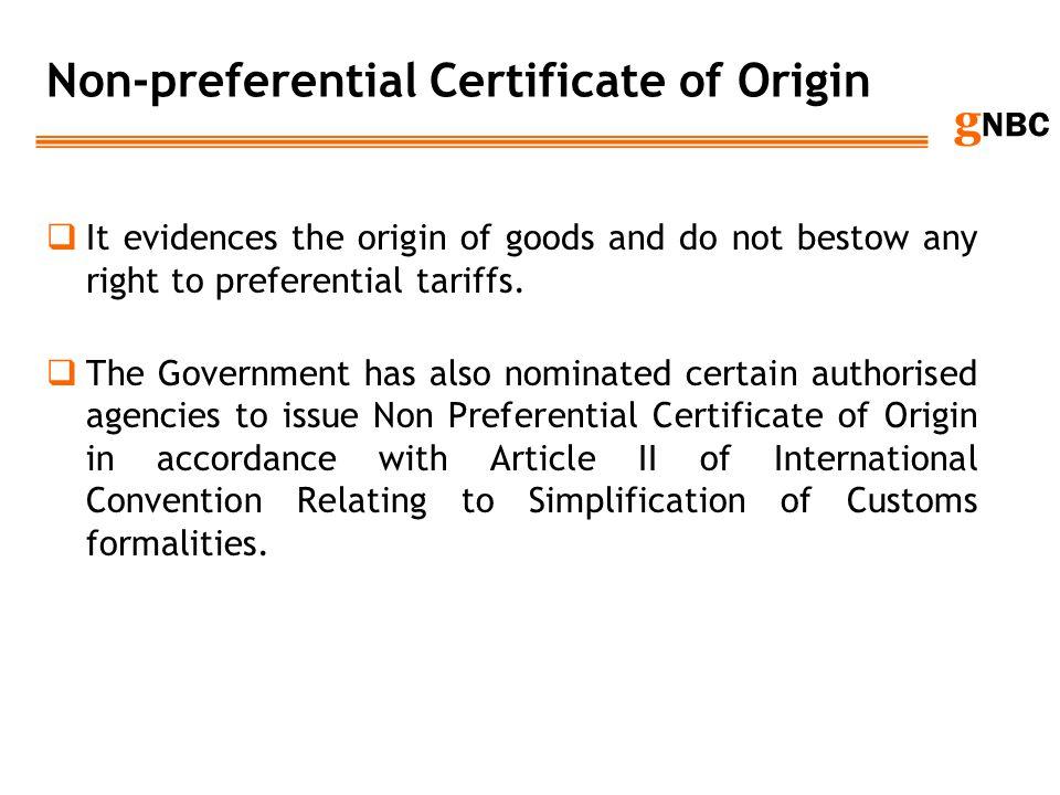 Non-preferential Certificate of Origin
