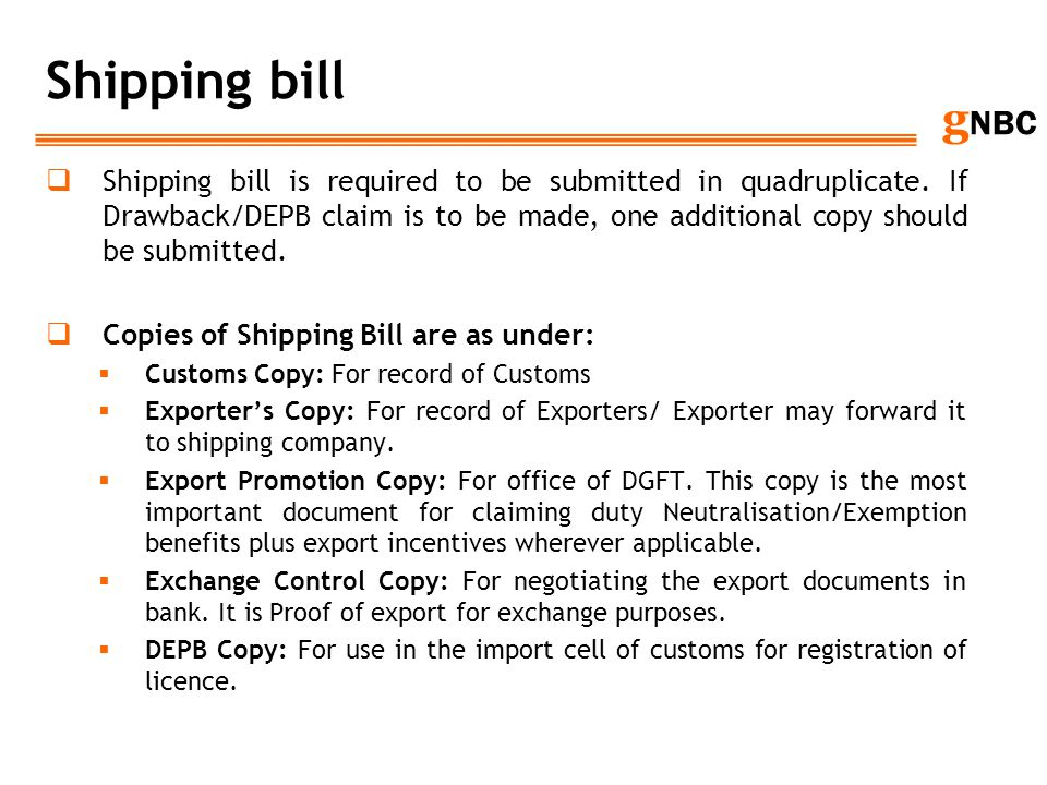 Shipping bill
