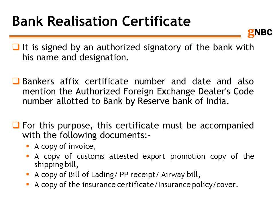 Bank Realisation Certificate