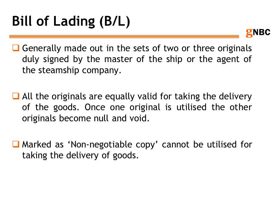 Bill of Lading (B/L)