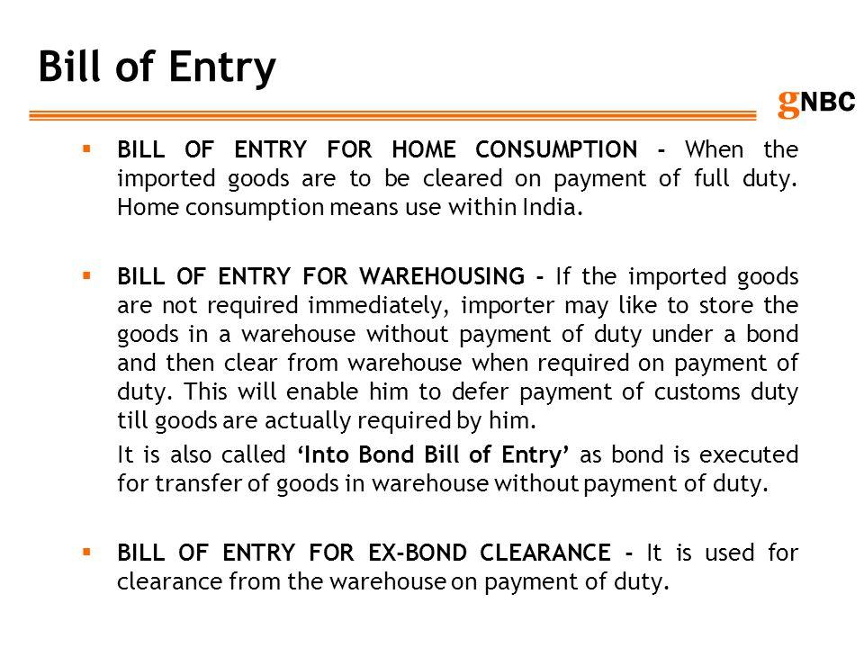 Bill of Entry