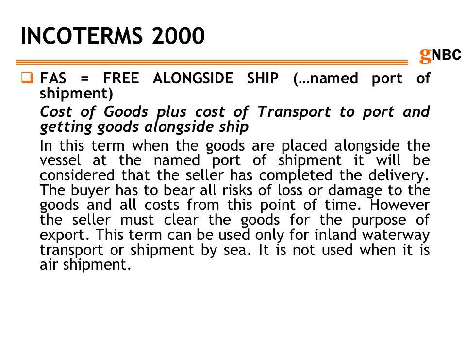 INCOTERMS 2000 FAS = FREE ALONGSIDE SHIP (…named port of shipment)