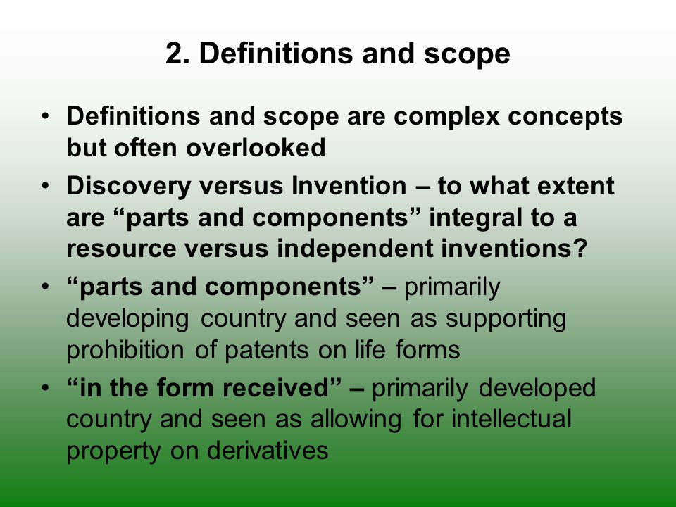2. Definitions and scope Definitions and scope are complex concepts but often overlooked.