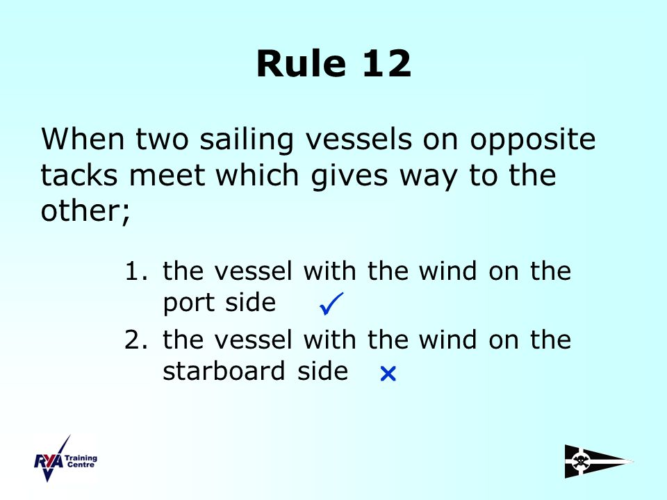 Rule 12 When two sailing vessels on opposite tacks meet which gives way to the other; the vessel with the wind on the port side.