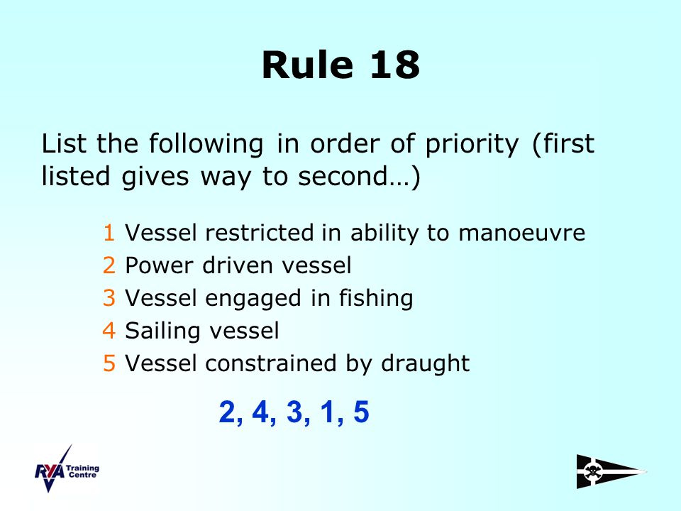 Rule 18 List the following in order of priority (first listed gives way to second…) 1 Vessel restricted in ability to manoeuvre.