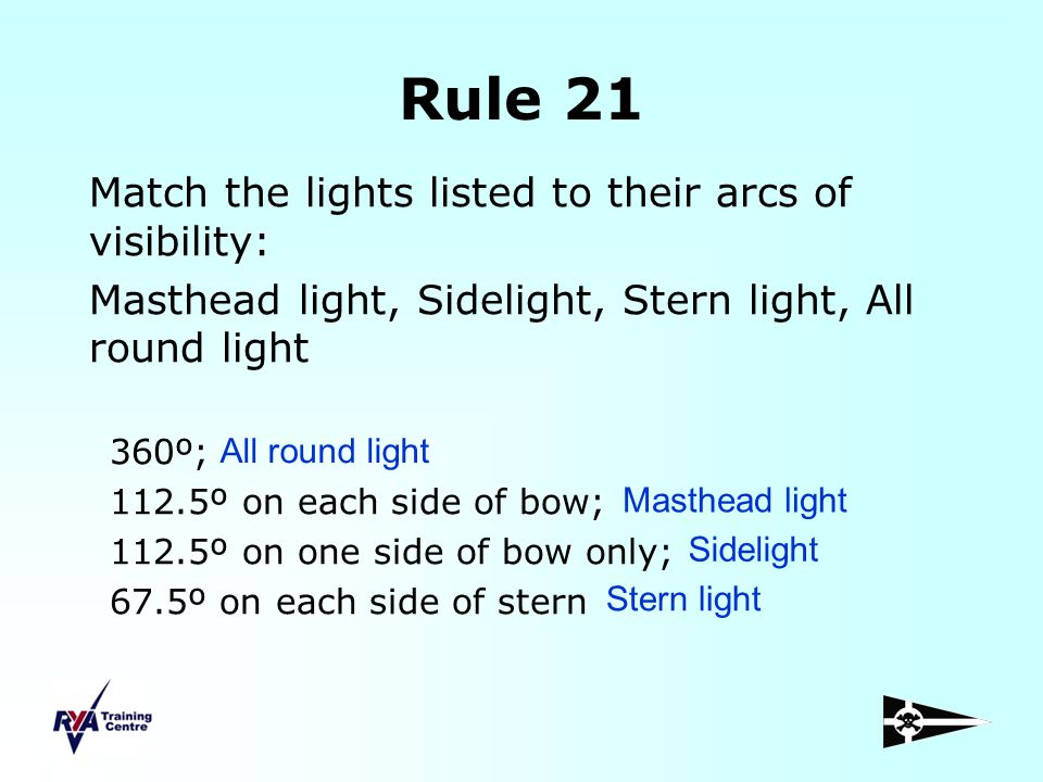 Rule 21 Match the lights listed to their arcs of visibility: